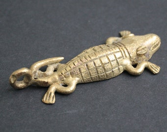 African Brass Pendant or Charm,  Alligator, Handmade Ashanti Ghana Lost Wax, 77 mm