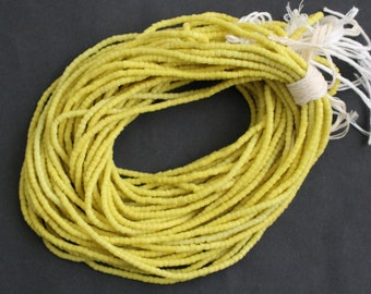 Lemon Waist/Seed Beads, Authentic African Recycled Glass, Handmade, Bikini Jewellery,  Small Gift for Her, 52 inches