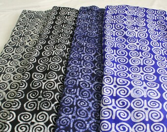 African Fabric Ghanaian Cotton Batik, Ethnic Adinkra* Print, Ram's Horn (Dwennimen) Symbol of Humility & Strength, Black/Blue/Charcaol/Navy