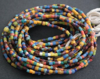 African Waist Beads/Seed beads from Ghana's Krobo, 35 inches Long, Multi-coloured Glass Beads, 3-5 mm, with Cotton Tie Cord
