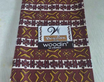 African Upholstery Fabric, Authentic Woodin Brand, Ghana Cotton Print, Reddish Brown Print