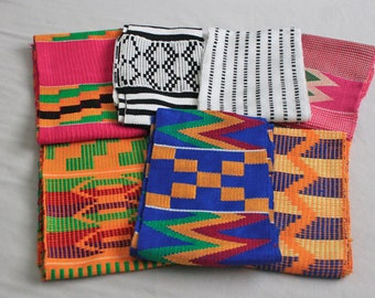 Kente Fabric Strip Ghana Cotton Cloth, Authentic Handwoven Piece, Graduation Stole, Gift Idea,  for Sewing, Upholstery, Crafts