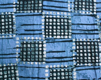Blue African Fabric by the Yard, Ghana Cotton Batik, Preshrunk Hand-dyed Ethnic Cloth for Clothing, Quilting, Head Wraps, and More