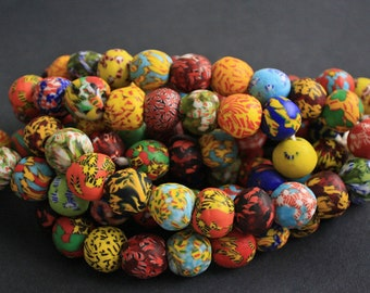 10 African Beads, Ghana Refashioned Glass, Handmade Round 17-19mm, for Jewelry and Crafts, Vibrant Mixed Colours & Designs,