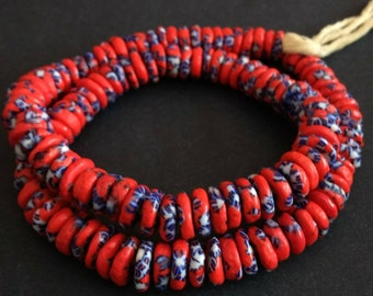 40 African Disc Beads, Ghana Krobo Refashioned Glass Spacers, 10-12 mm Wide, Red/Blue/White
