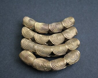 """1 Curved African Brass Bead, Handmade Ethnic Ghana """"Lost Wax"""" Craft, approx 58 mm, for jewelry and crafts"""
