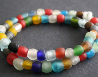 55 African Beads, Ghana Recycled Glass Handmade, 9-11mm Mixed Colours for Jewelry and Crafts