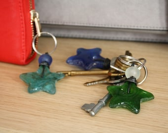 Recycled Glass Key Rings Handmade in Ghana, Great Small Gifts and Stocking Fillers, Star-Shaped