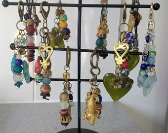 Bag Charm, African Recycled Glass Beads with Brass/Glass Charms,  Small Gift for Her