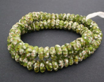African Disc Beads, Handmade Refashioned Glass,  Krobo, Ghana 13-14 mm Spacers, Translucent Olive Green Mix, for Jewelry and Crafts