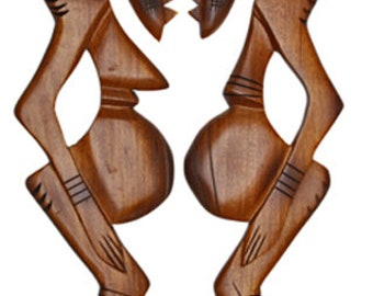 African Tribal Wall Plaque Solid Wood, Handcrafted, 54 cm, One Pair, Ready to Hang