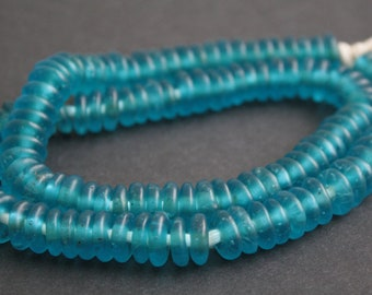 40 African Disc Beads, Ghana Krobo Recycled Glass Spacers, Translucent, Turquoise Blue  for Jewellery and Crafts, 10-12 mm, Handmade