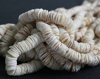 African Snail Shell Beads,  Organic Natural Discs, Cream and Beige Tones. 7.5/15 inch Strand, 10-11 mm wide