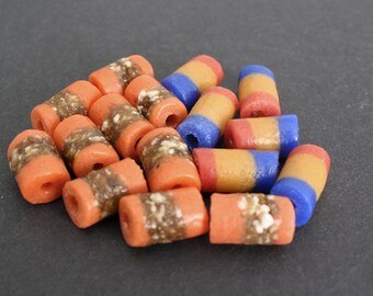 16 African Beads. Ghana Krobo Recycled Glass, 18 mm Handmade Tubes, for Jewelry and crafts, Mixed Lot
