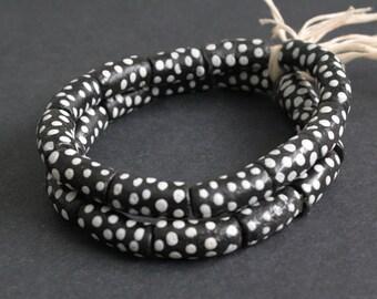 12 Black African Tubes Beads, Polka Dot, Handmade Recycled Glass from Ghana's Krobo, 18-20 mm, One Strand