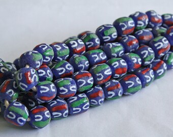21 African Beads Handmade Ghana Krobo Recycled Glass 11-12mm Round, Blue/White/Red/Green, Full Strand, for Jewelry and Crafts