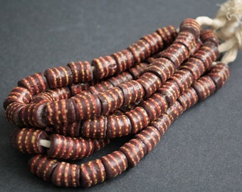 20 Brown African Beads, Krobo Recycled Glass, 11-13 mm Tubes, Handmade Ethnic Craft, 1 full strand