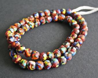 Full Strand African Beads Ghana Krobo Refashioned Glass, Mixed Colours, Handmade 10-11mm Round, 60 beads, RFG091002