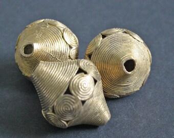 1 African Brass Bead, Ghana Ashanti Handcrafted Ethnic Craft, Giant Bi-cones, 40 mm Approx