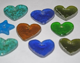 African Recycled Glass Pendants Heart-Shaped, Translucent, Handmade, for Beading and Crafts, 6 Colour Options, 35-45mm
