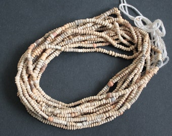 African Clay Beads, Tiny, Handmade Ethnic Mali Craft,  Long Strand 30 inches x 2, for Jewellery and Crafts, 2 Strands