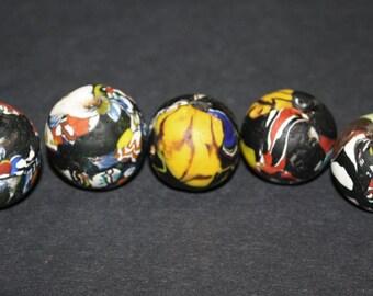 Giant African Beads, Refashioned Glass from Ghana's  Krobo, handmade, Black/Multi-colours, 23-27 mm