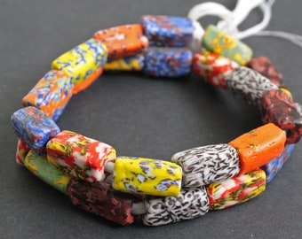 5 African Beads, Ethnic Ghana Krobo Cuboid Refashioned Glass, Handmade, Cuboid, 22 to 27 mm