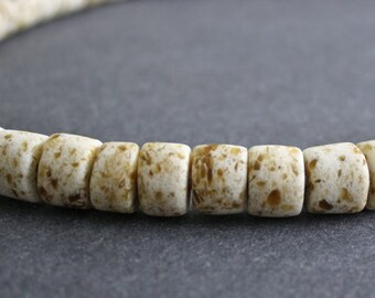 15 African Beads, Ghana Recycled Glass, Hand-made Tubes 9-12mm, Chunky, for Jewelry and Crafts, Off-white/Golden Brown
