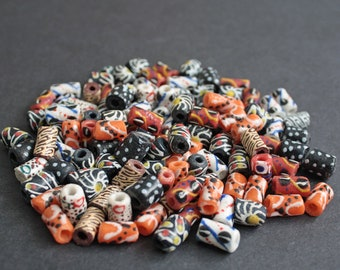 African Tube Beads, Handmade Ghana Krobo Recycled Glass Tubes for Jewelry and Crafts, Mixed Lots
