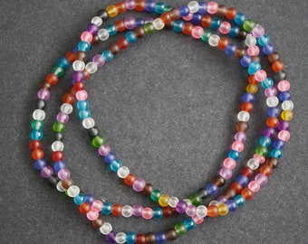 African Waist Beads, Stretchy Multi-Coloured, 4 mm Frosted Round Glass Beads