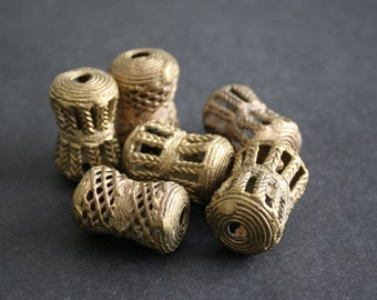 African Brass Beads, Djembe Drum-Shaped, Ashanti Ghana Lost Wax, 32 mm, Hand-made, for Beading and Crafts, 2 Design Options