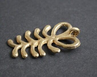African Brass Pendant African Handmade Ashanti  Adinkra* Symbol of Resourcfulness, Fern (Aya) for Statement Jewelry
