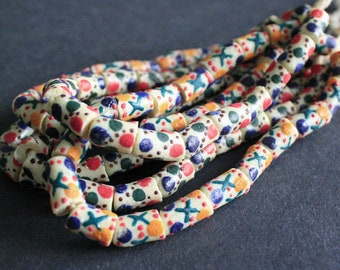 19 Pretty African Beads, Krobo Ghana Recycled Glass, Hand-made Ethnic Tubes, 11-15 mm, One Strand