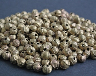 African Brass Beads, 11-12mm Round Handmade Ethnic Ghana 'Lost Wax' Craft, for Jewelry and Crafts, 10/20 Pack
