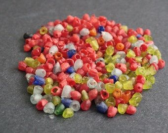 300 Tiny African Beads, Ghana Recycled Glass, 5 mm, Handmade for Jewelry and Crafts