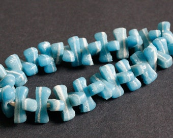 40 Pale Blue African Beads, Ghana Recycled Glass, Oval, 21-22 mm,  1 Strand, Handmade for Jewelry and Crafts