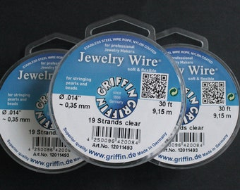 Jewelry Wire from Griffin Germany, Stainless Steel, Nylon Coated, 0.014mm or 0.010mm 30 Ft (9.15metres)