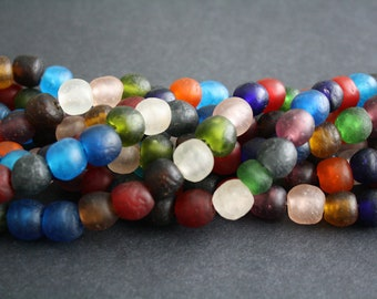 45 African Beads, Recycled Glass, Ghana Krobo  Round, 12-15 mm, Handmade for Jewelry and Crafts, Mixed Lot, 1 Full Strand