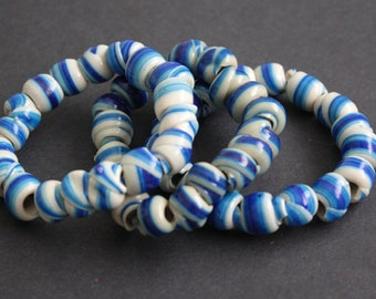 54 Blue African Beads, Handmade Ethnic Recycled Plastic, Spiral Round, Blue & Pale Blue for Jewelry and Crafts