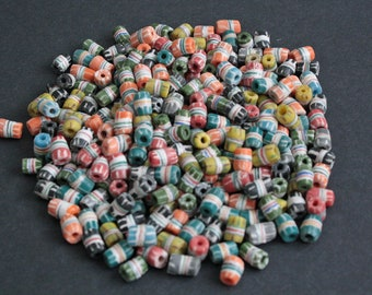 20 African Beads, Krobo Ghana Recycled Glass Hand-made Tubes 10 mm, Mixed Lot of 6-7 Different colours