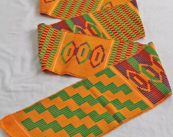 Kente Cloth Strip from Ghana, Authentic Handwoven Strip, Cotton, for Sewing or Graduation Stole, Gift Idea