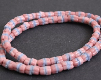 2-Layer Pink African Beads, Ghana Ethnic Krobo Recycled Glass, 6mm, Handmade for Jewelry and Crafts, Long Strand