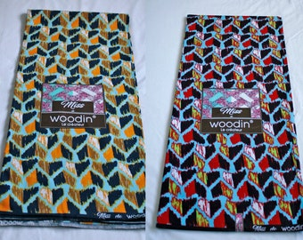 Woodin African Fabric, Authentic Ghana Cotton Print, For Sewing, Crafts, Quilts, Head Wraps and More, Turquoise/Red/Orange,  2 Yard Bundle