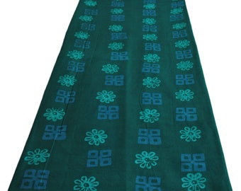 African Batik Fabric, Hand-Dyed, Preshrunk, Rich Teal Green, Ethnic Ghana Print, Sew, Craft, Quilt, Nearly 2 Yards
