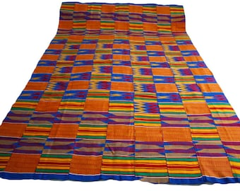 Blue Kente Fabric, Authentic Handwoven Ethnic Cotton, Gift for Her, Red White Blue, 2 Size Options