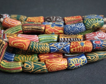 Mixed African Beads, Ghana Krobo Recycled Glass Ethnic Tubes, Handmade Colourful Tubes, Full Strand, 23-30 mm approx, for Jewelry and Crafts