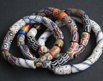 Mixed African Beads Bracelet, Ghana Ghana Recycled Glass Beads,  Lovely Gift Idea, Several Options, Approx 7.5-8 inches long