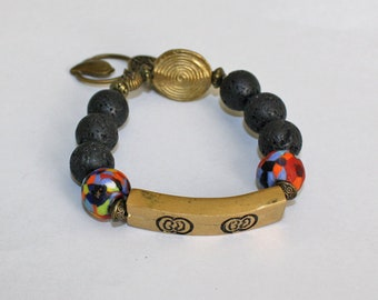 African Jewelry, Beaded Lava and Ghana Refashioned Glass Bracelet with Solid Brass Bar, Small Gift for her, 6.5 inhes, Includes free Bag