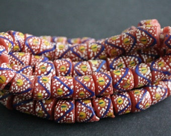 African Beads, Recycled Glass Ghana Krobo Ethnic Craft, 10-14mm Chunky Tubes, Red Mix, Handmade, Full Strand of 22