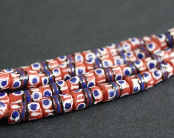 Red African Beads, Handmade Ethnic Krobo Ghana Recycled Glass Tubes, 11 mm, 1 Strand